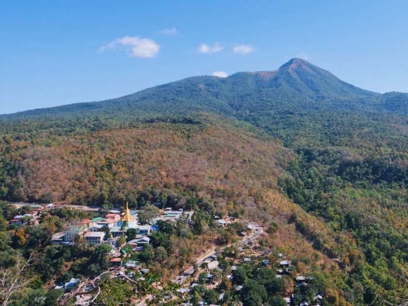 View of Mount Popa from the top of Taung Kalat