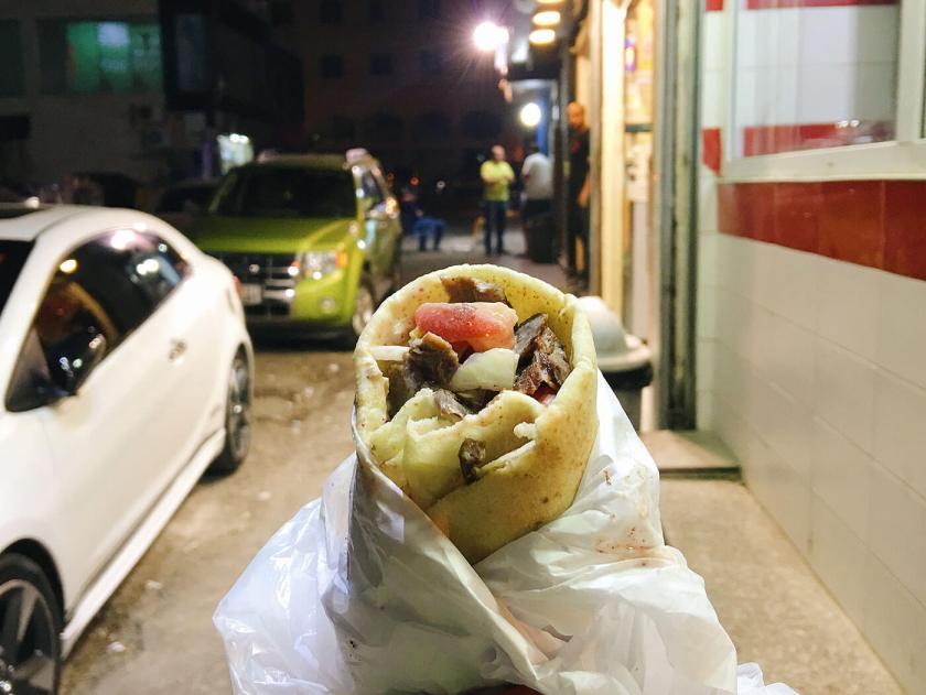 A lamb shawarma wrap at the Shawarma street in Amman