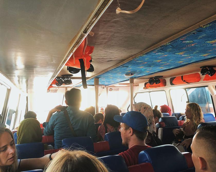 Inside Nusa Penida transfer boat