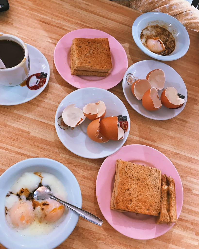 Singaporean Breakfast - Kaya Toast, Soft Boiled Eggs and Kopi