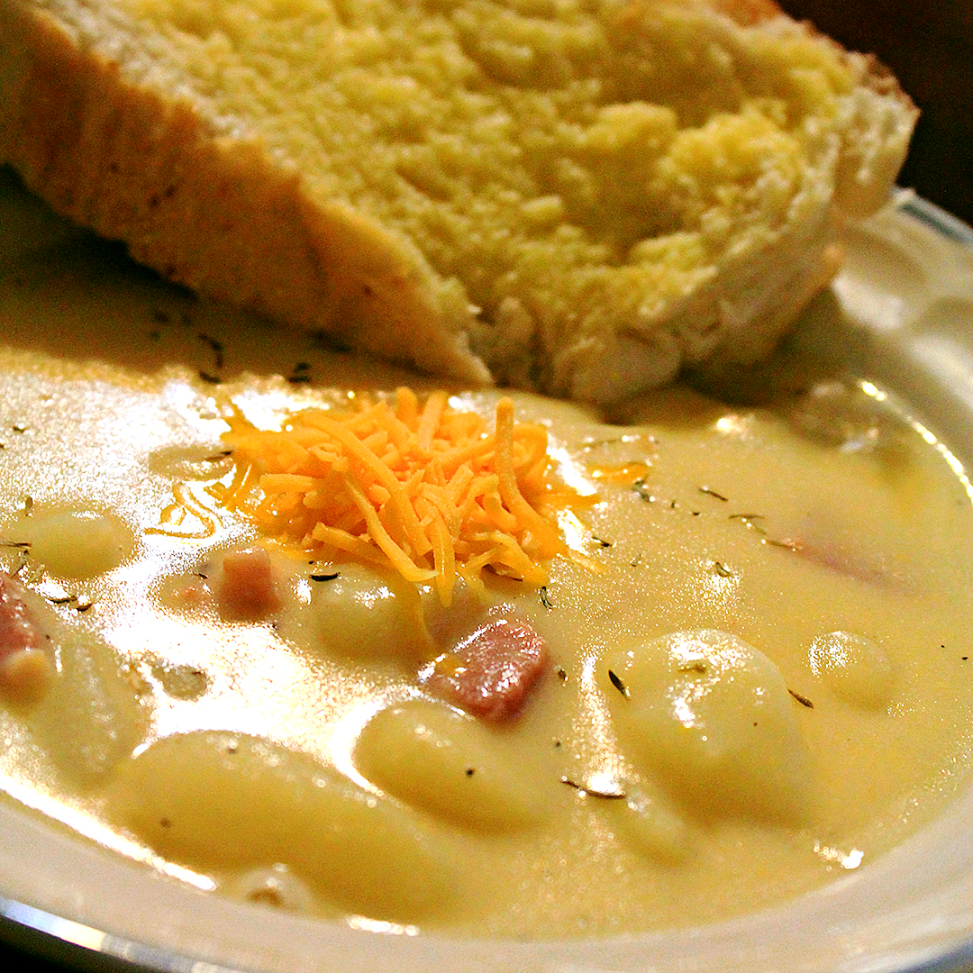 Creamy Potato, Gnocchi and Ham Soup