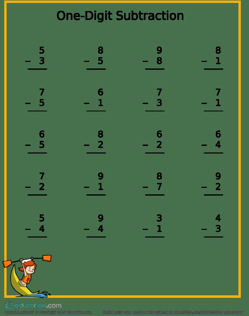 Workbooks spelling generator worksheets : Free Subtraction Kayak Worksheet