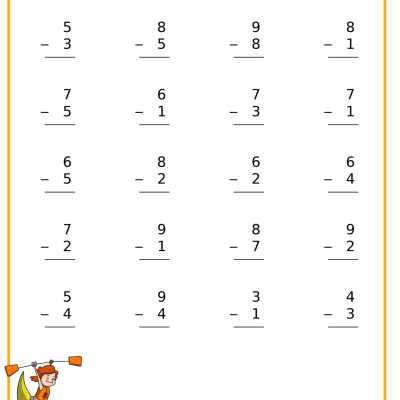 Free Subtraction Kayak Worksheet