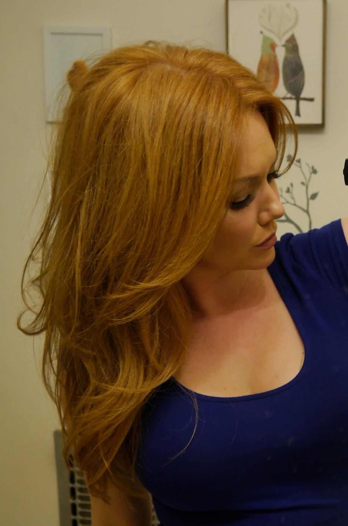 """In this pic, no extensions, just all the volume tricks!  Hair curled with a 2"""" Hot Tools curling iron."""
