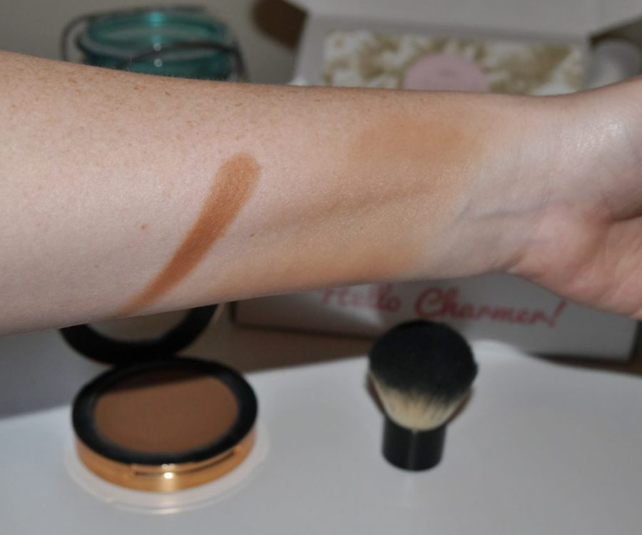 The bronzer applied with my finger on the left and with the brush on the right.  So much lighter and more natural looking with the brush and I hadn't even blended yet!