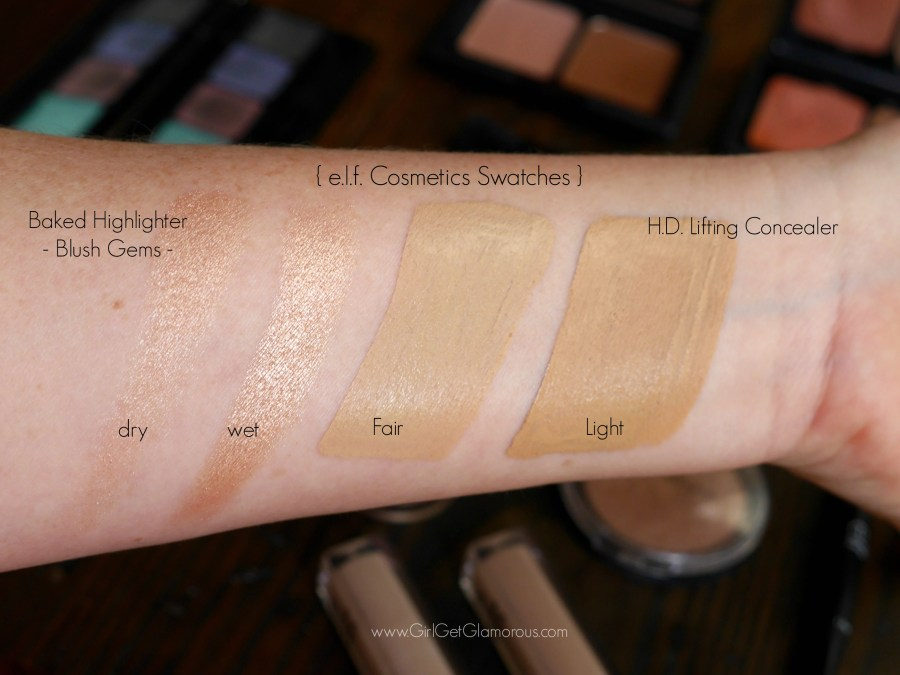 elf cosmetics concealer highlighter swatches