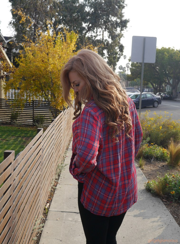 plaid shirt best black high rise jeans booties ootd