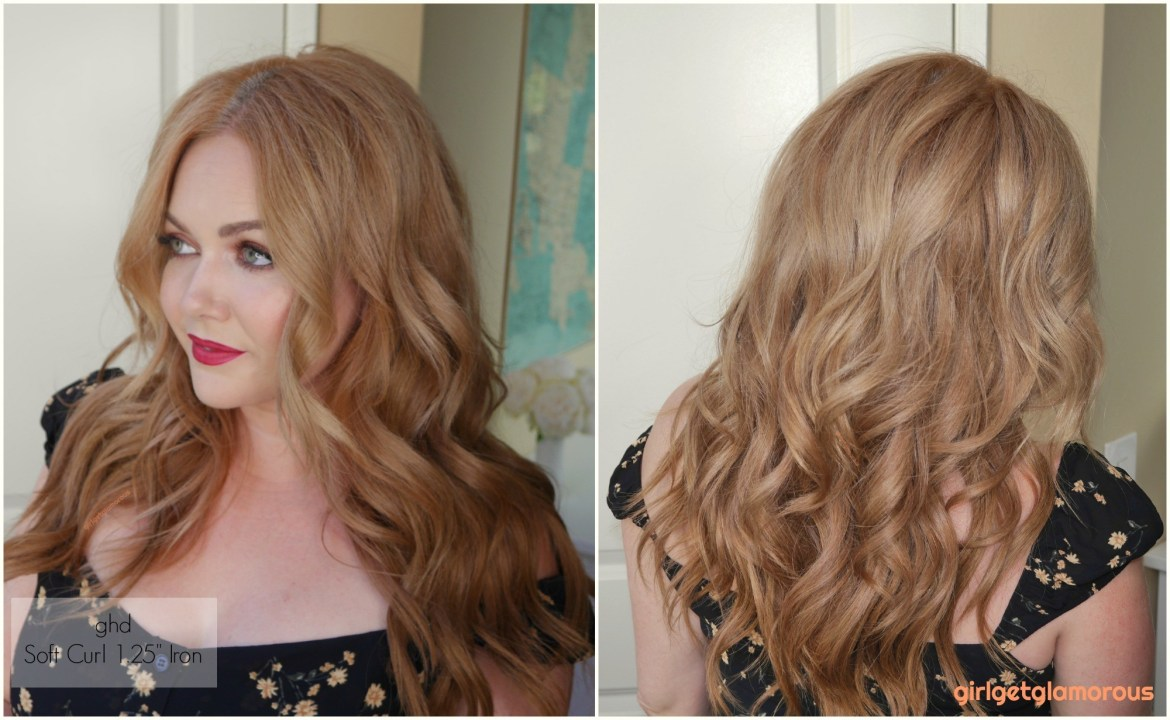 "ghd 1.25"" 1.25 loose soft tong wand curler curl results before after beach curls waves beauty blog best curler for my hair blogger"