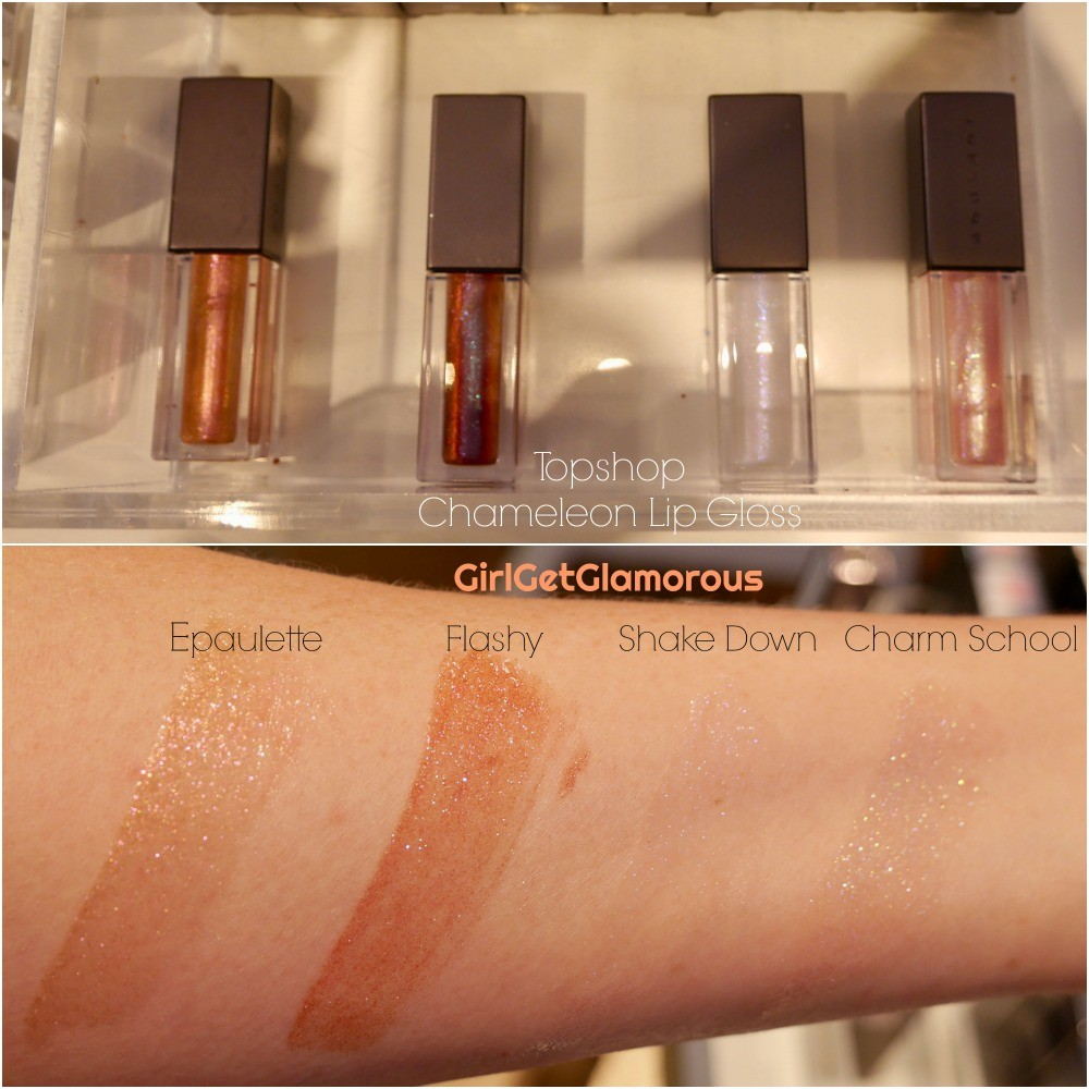 topshop chameleon lip gloss swatches epaulette flashy shake down charm school