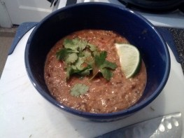 Black bean and salsa soup, courtesy Happy Herbivore