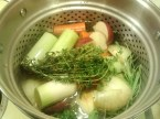 My veggie broth home brew. Looks like leeks and thyme made it to this mix.