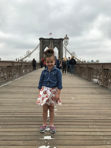 Sincerely Scout Pretzel Skirt on The Brooklyn Bridge