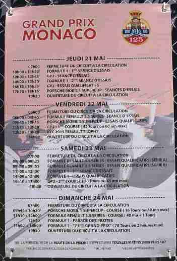 Formula Grand Prix Schedule