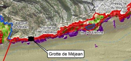 Provence's Blue Coast - Grand Méjean - La Grotte Marine - map of coast