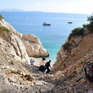 The Côte Bleue - Provence's Blue Coast - treacherous path down to Calanque d'Erevine
