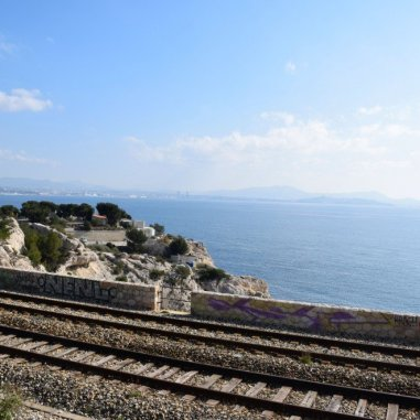 Provence's Côte Bleue - Niolon - train tracks along trail