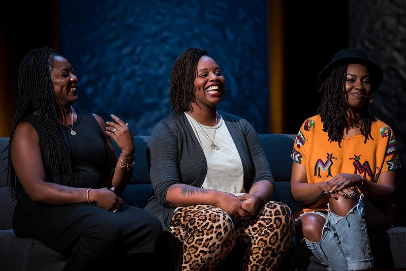(L-R) Alicia Garza, Patrisse Cullors, and Opal Tometi, founders of the Black Lives Matter movement, are interviewed by Mia Birdsong (not shown) at TEDWomen 2016