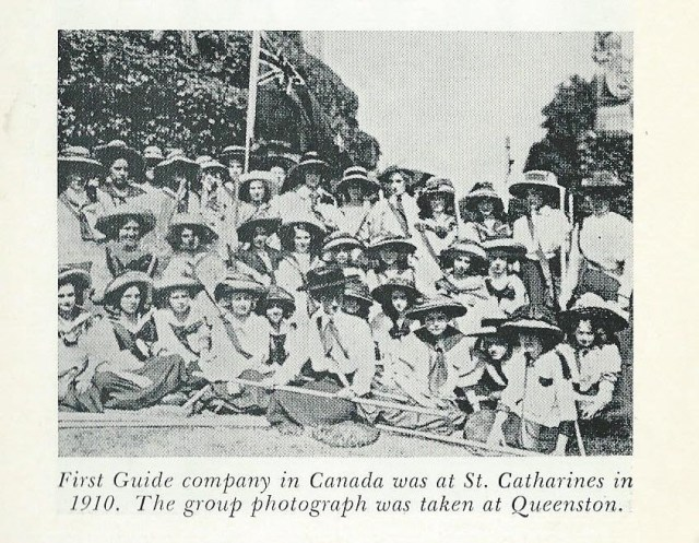 "First Guide Company from St. Catharines at Queenston Heights. Source:  ""The Story of the Girl Guides in Ontario."" Katherine Panabaker."