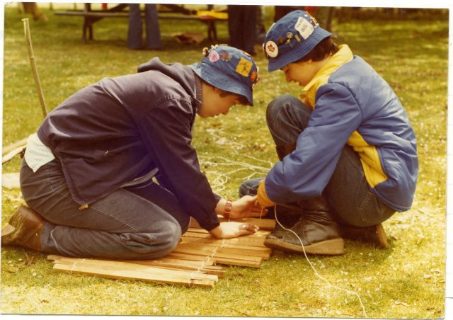 Girls building at camp