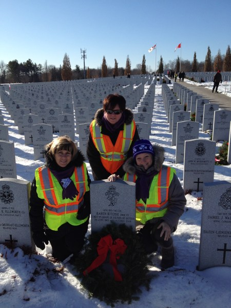 Heather Hamann, President of the 1st West Ottawa Wanderers Trefoil Guild (west end Ottawa), Sue Darcy, President of the 1st Dorothy Crocker Trefoil Guild (east end Ottawa), Brigitte Trau, member of both Guilds, laying a wreath at the grave of Col. Karen Ritchie.