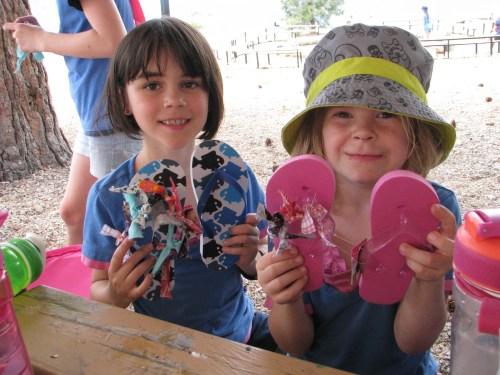 Girls doing flip flop craft