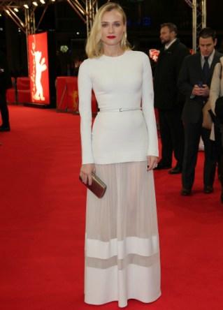 Diane Krueger looks like an angel, all glammed up in white.