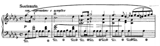 """Sheet music for bars 1–4 of Chopin's Prelude in D-flat Major, the """"Raindrop Prelude"""""""
