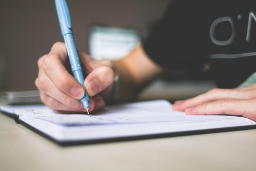 Person holding a blue pen, writing in a notebook.