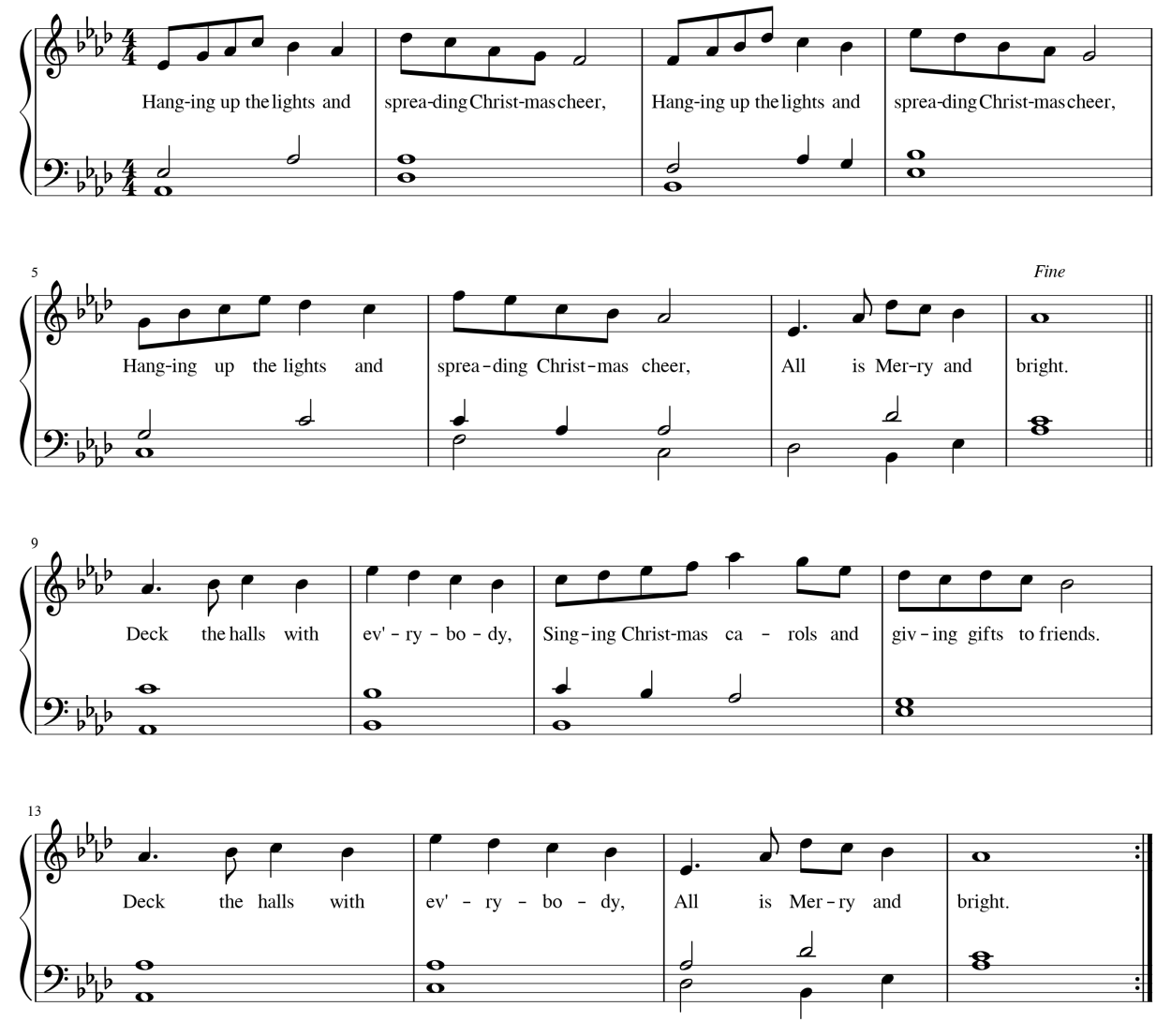 """Image of an original music composition (melody plus accompaniment) called """"All is Merry and Bright"""""""