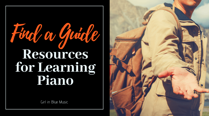 Find a Guide: Resources for Learning Piano header image with a person wearing a backpack holding their hand out