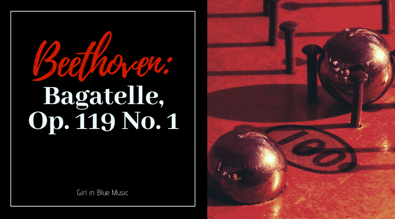 Title card Beethoven Bagatelle Op. 119 No. 1. On the right, an image of two metal balls being held in place by nails and a hole in a board marked 100
