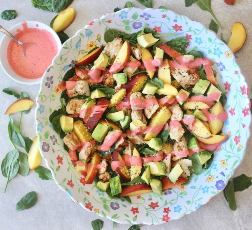 Peach Salad & Strawberry Lime Dressing
