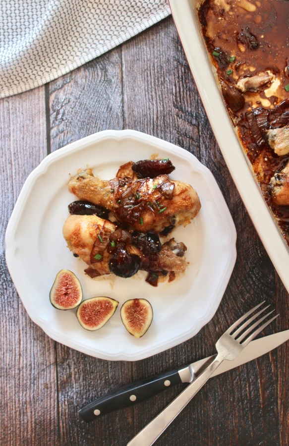 Crispy Drumsticks with Balsamic Fig Sauce vertical plate