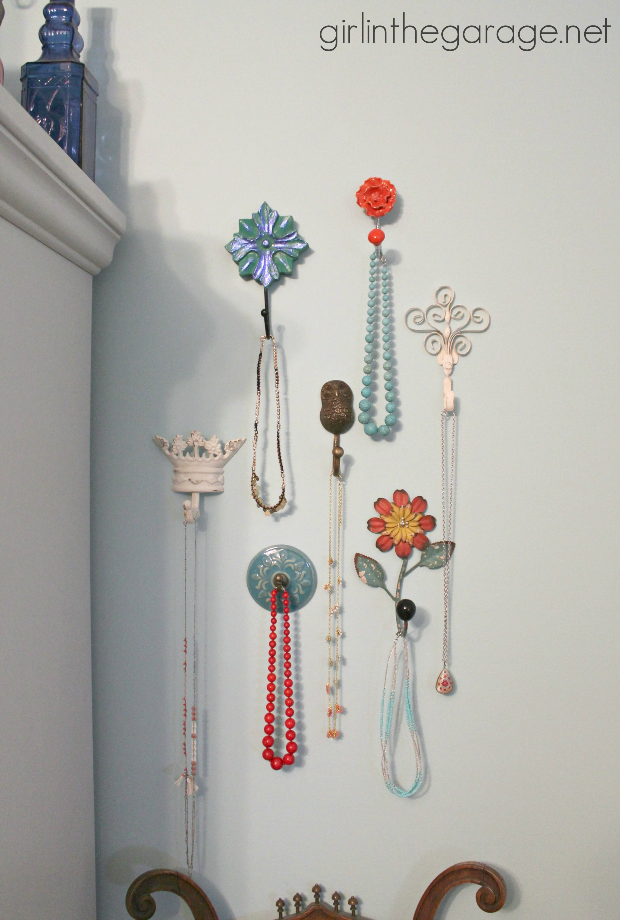 Decorative Wall Hooks As Jewelry Storage Girl In The Garage