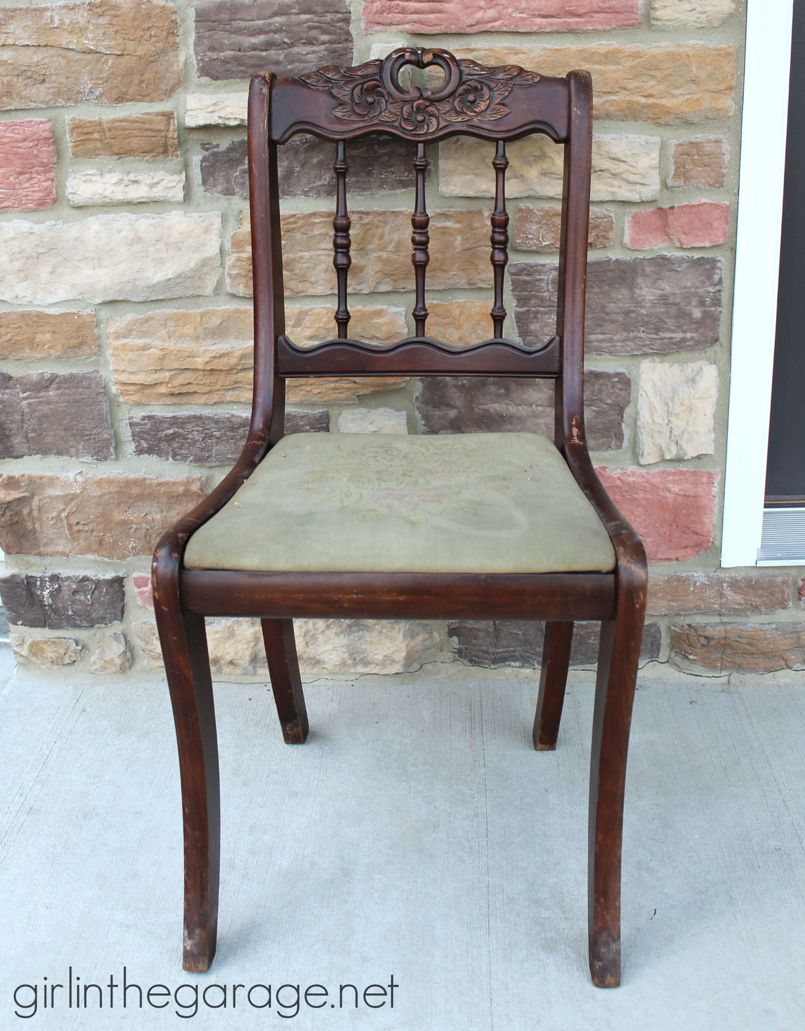 Antique Wooden Chair Shabby Chic Chair Makeover Girl In The Garage