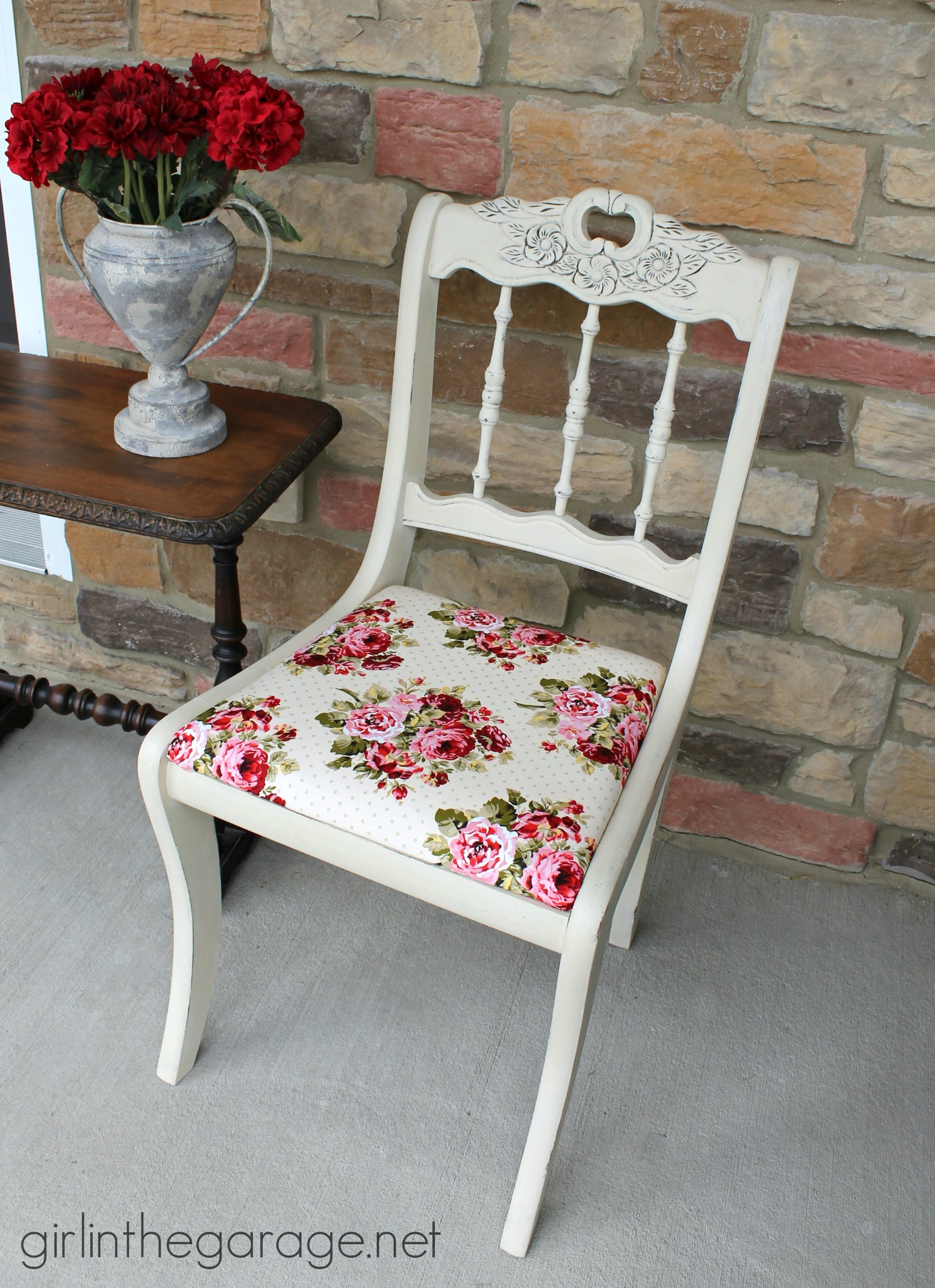 shabby chic chair roll arm slipcovers makeover girl in the garage