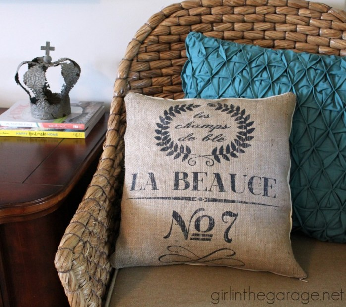 french burlap sack pillow by girl in the garage