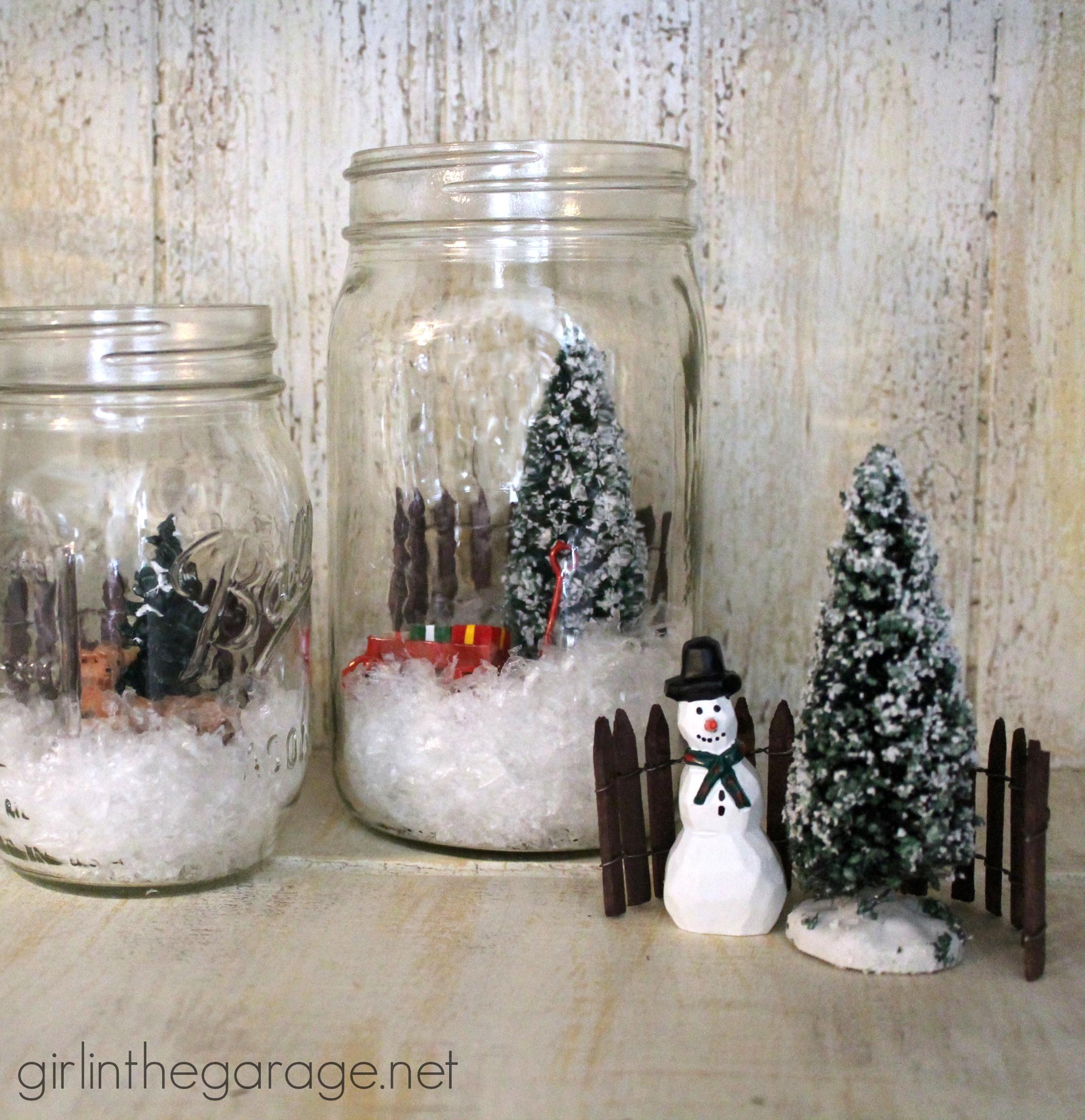 Winter Scene In A Mason Jar Girl In The Garage