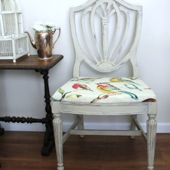 Grey Painted Chairs Office Chair Keyboard Tray Country Chalk Paint Makeover With Bird Fabric