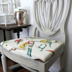 Grey Painted Chairs Folding Chair Toilet Country Chalk Paint Makeover With Bird Fabric