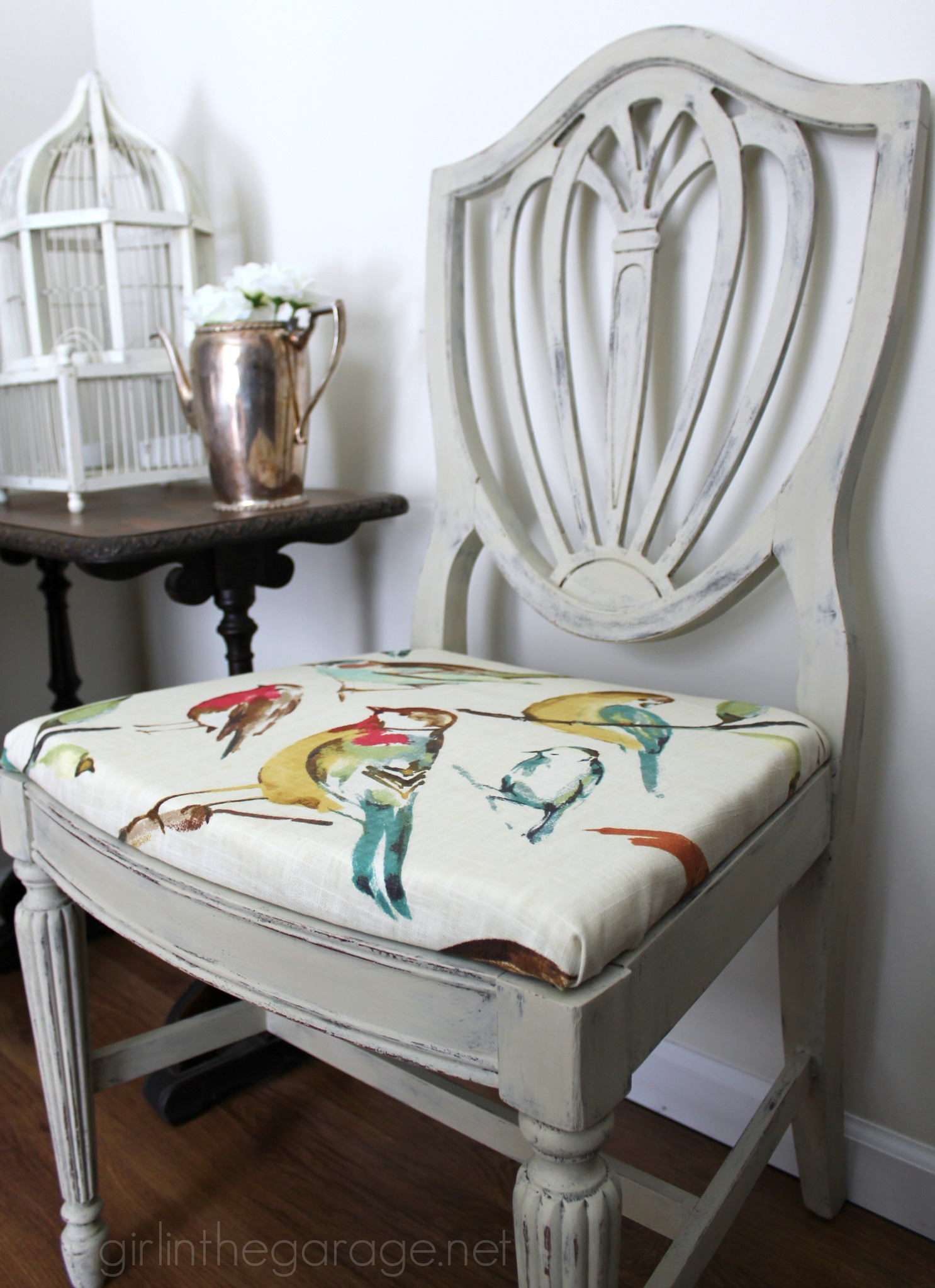 Chalk Paint Chairs Country Grey Chalk Paint Chair Makeover With Bird Fabric
