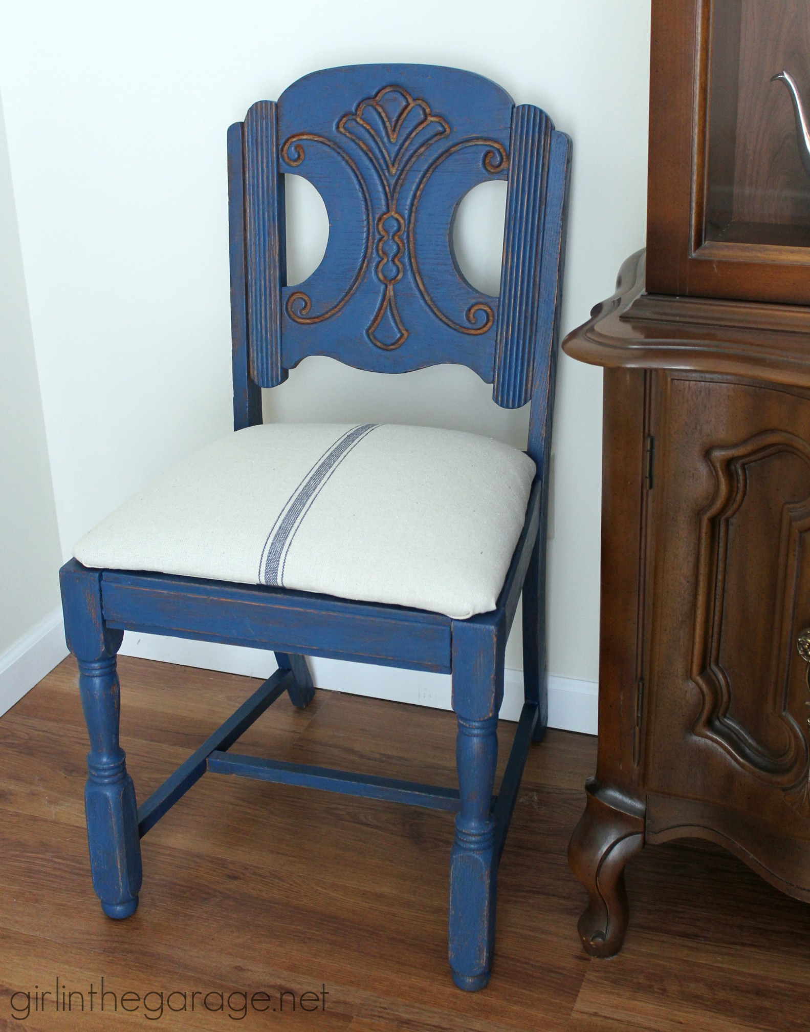 Grain Sack Chair Blue Grain Sack Chair Makeover