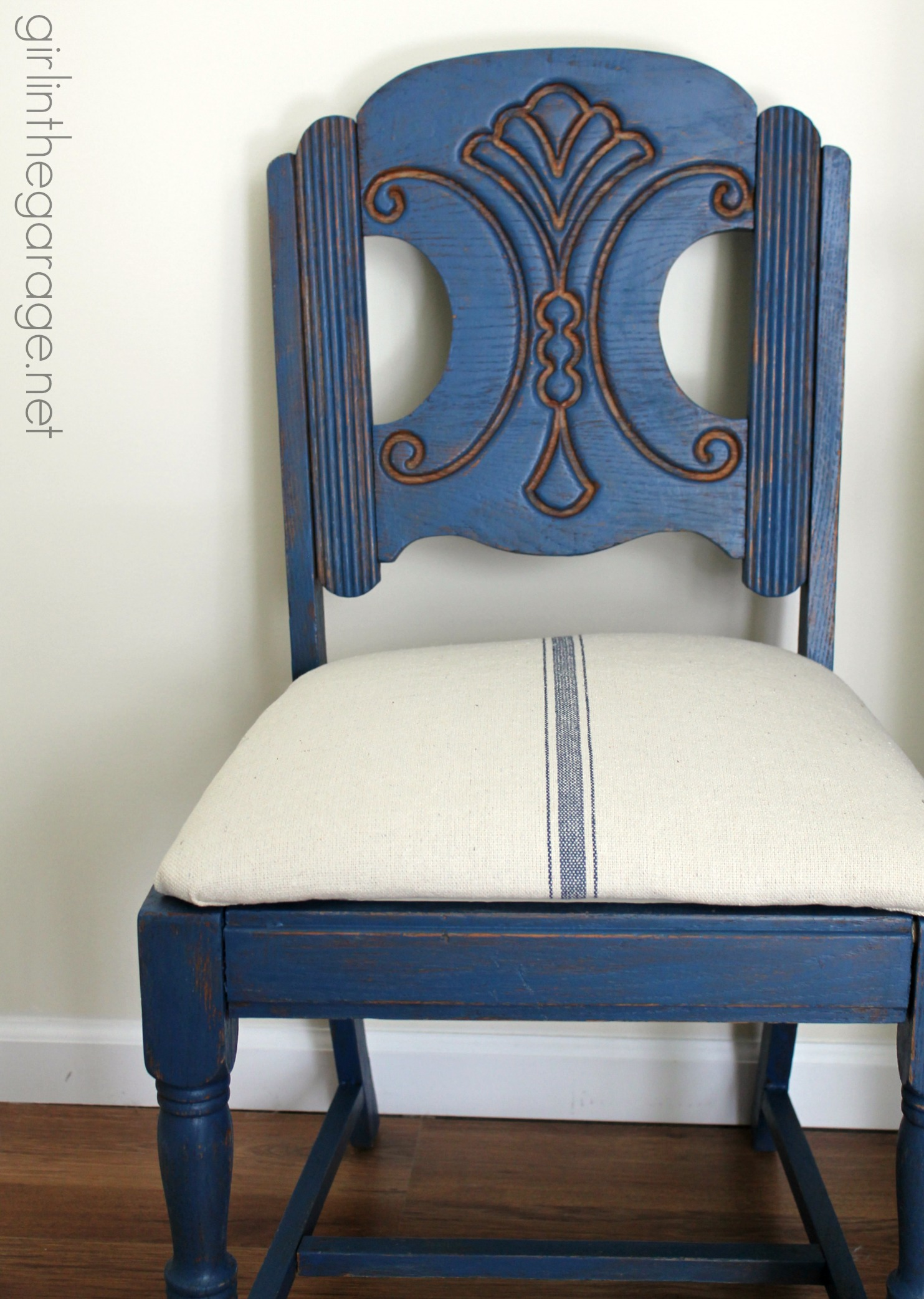 old blue chair lidl fishing grain sack makeover  themed furniture