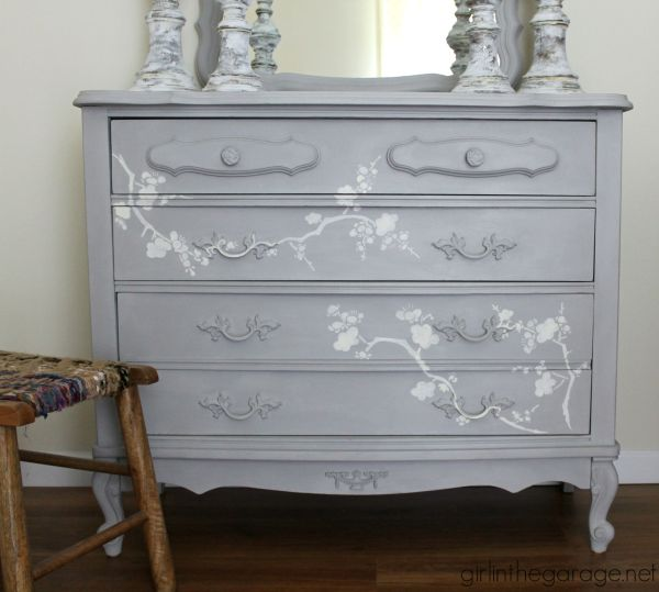 Chalk Paint And Cherry Blossoms - Dresser Makeover Girl In Garage
