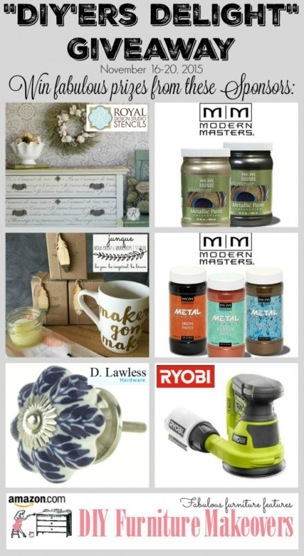 """DIY'ers Delight"" Giveaway - Over $350 in prizes! November 16-20, 2015"