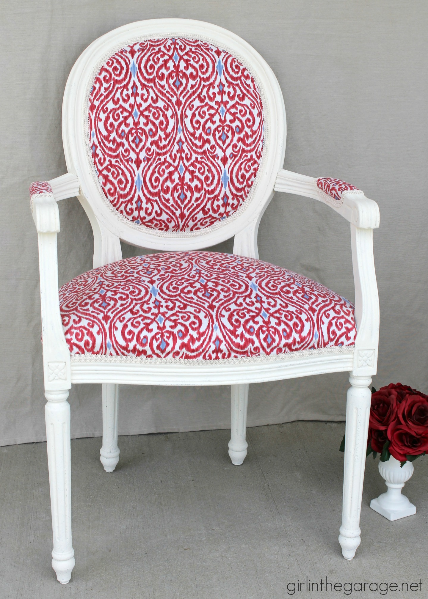 The anythingbutboring chair my first big reupholstery redo  Themed Furniture Makeover  Girl