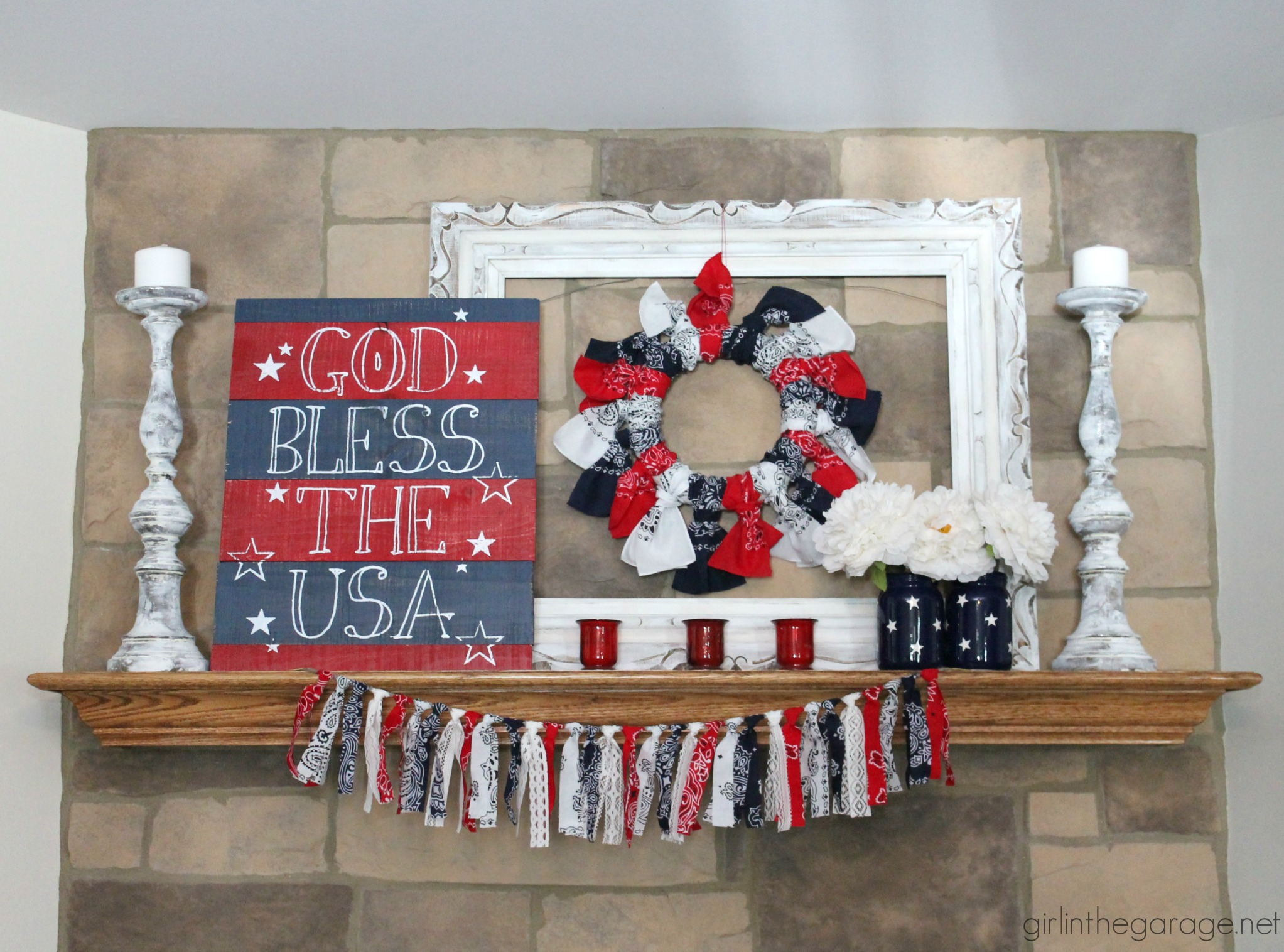 red white and blue 4th of july mantel girl in the garage