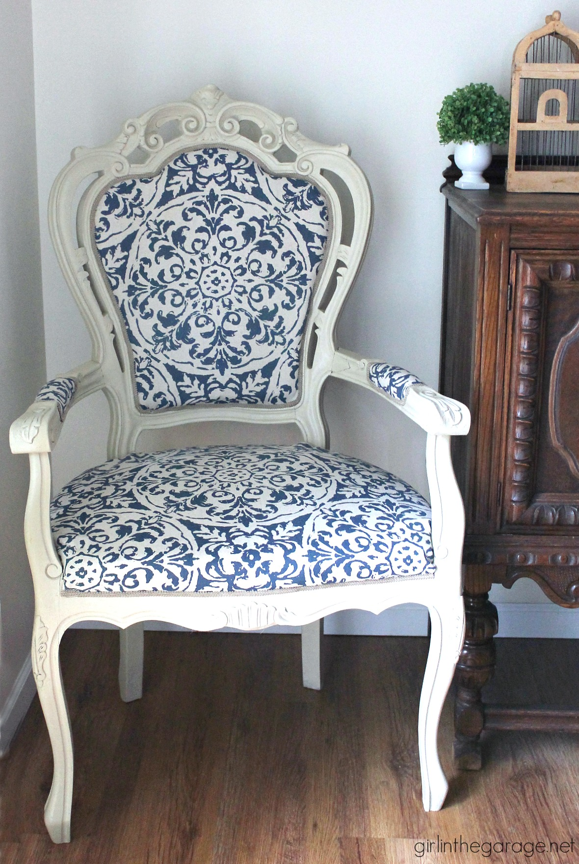 The Throne Chair  DIY Reupholstered Chair Makeover  And Being Brave  Girl in the Garage