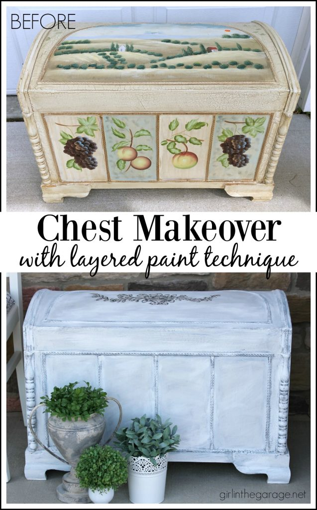 Update an ugly thrifted chest when you learn how to layer paint colors for an easy, stunning finish. DIY Furniture Makeovers by Girl in the Garage