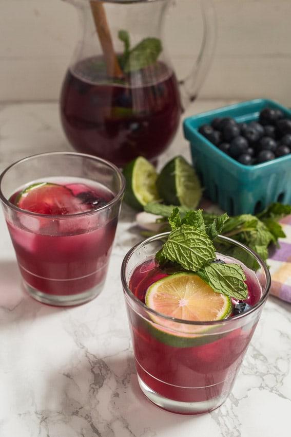 Blueberry Mint Sangria   girlinthelittleredkitchen.com